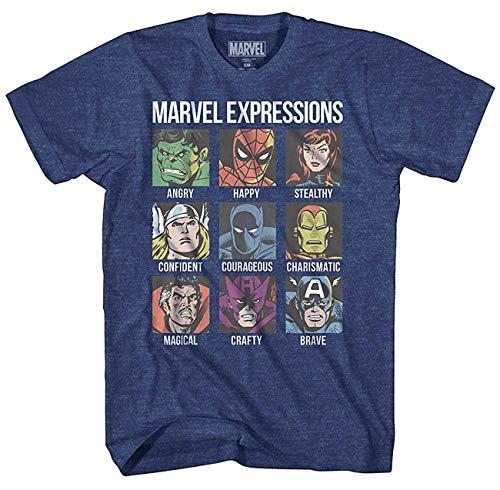 Avengers Expression Moods Spider-Man Hulk Thor Iron Man Black Panther Strange America Mens Adult Graphic Tee T-Shirt (Navy Heather, X-Large)