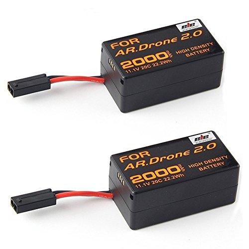 Paquete de 2 baterías de repuesto de gran calidad de polímero de litio de 2000 mAh para cuadricóptero Parrot AR.Drone 2.0