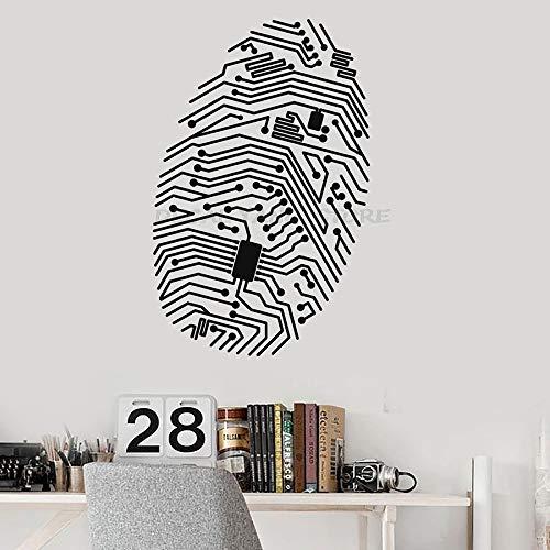 yaofale Kreative Fingerabdruck Wandtattoo Chip Computer Geek Sicherheit IT Vinyl Fenster Aufkleber High-Tech Innendekoration Wandbild