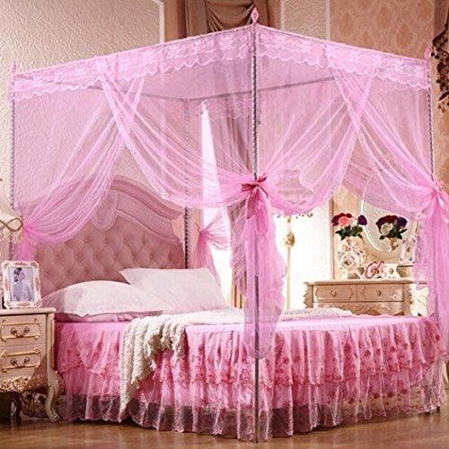 Bluelans® - Moustiquaire à 4 angles pour lit jumeau, double, Queen-size et King-size, rose, Queen Size