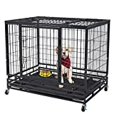 Polar Aurora 37'/46' Pet Dog Cage Heavy Duty Strong Metal Wire Crate Kennel Playpen for Training Indoor Outdoor w/Lockable 4 Wheels &Tray & Double Doors & Locks Design (46)
