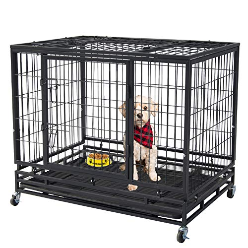 "Polar Aurora 37""/46"" Pet Dog Cage Heavy Duty Strong Metal Wire Crate Kennel Playpen for Training Indoor Outdoor w/Lockable 4 Wheels &Tray & Double Doors & Locks Design (46) Categories"