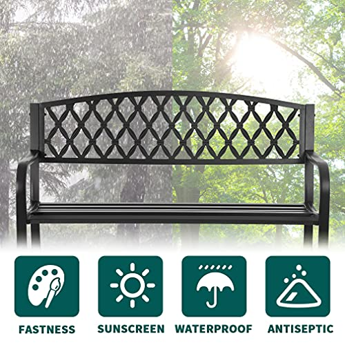 50-Inch Garden Bench,Park Bench Outdoor Bench Metal Bench Clearance Yard Porch Bench Chair with Steel Frame Outdoor Bench Furniture for Backyard Entryway Deck Lawn, Black