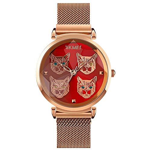 YIBOKANG Damenmode Temperament Stereo Schneidspiegel Kataloge Magnetische Schnalle wasserdichte Quarzuhr Kreative Freizeit Geschenk Mode Uhr (Color : Rot)