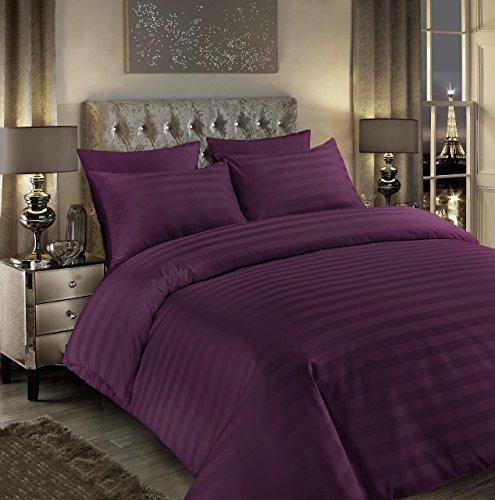 Sunshine Comforts 100% Egyptian Cotton 500 Thread Count Satin Stripe Beautiful Duvet Cover Sets (Double, Striped Aubergine)