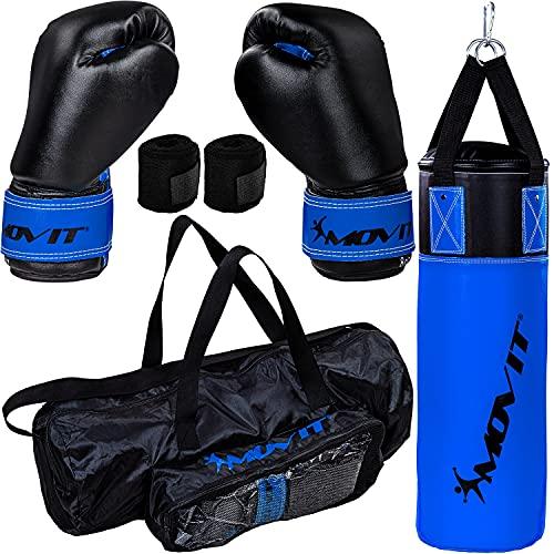 Movit® Boxsack-Set 5,5kg, gefüllt, inkl. Boxsack, (Höhe 60cm x Durchmesser 20cm), 8 oz Boxhandschuhe, Boxbandagen und Tasche, für Kinder und Jugendliche, Boxing Boxen, blau-schwarz