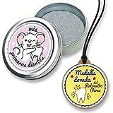 FANS & Friends Caja para dientes de leche con medalla para niñas y niños, e-book gratis incluido, Caja para guardar los dientes de bebés, Ratoncito Pérez, color: rosado