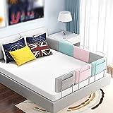 Valla ajustable para riel de cama de 50/60 cm, 1 barandilla de seguridad anticolisión, rieles de algodón suave, fácil de instalar para cuna para niños pequeños o camas para adultos (tamaño