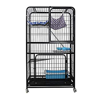 S-Lifeeling Cat Cage Cat Playpen Box Creat Kennel 3-Tier Cat House Cat Condo Folding Metal Crate Cage  Black