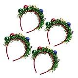 Generic 4 Piezas de Diadema de Navidad Cabeza de Bola Cabeza de Vacaciones Guirnalda Cabeza Cabeza Sombrero Toppers Festivas de Navidad para Fiestas Banquete