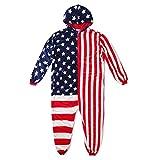 Katara 1844 USA Onesie aus Fleece Flagge mit Stars and Stripes - Amerika Einteiler - Ganzkörper Ami Fahne Hausanzug, Kostüm,Körpergröße S