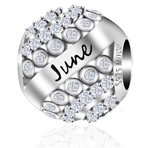 Geburtsstein Charms Anhänger Silber 925 mit dem Ausgewählten Monat - Ketten Anhänger zu Ihrem Verstellbar Bettelarmband / Jewelry Charms / Schmuck für Mädchen und Frauen