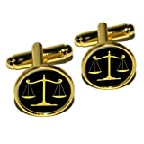 Balanced Scales of Justice Symbol Legal Lawyer Gold and Black Round Cufflink Set - Gold