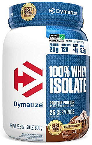 Dymatize 100% Whey Isolate Protein Powder, Fast Digestion & Absorption, Low Sugar & Low Calorie, Banned Substance Free, Classic, 1.76 Pound, Chocolate, 28.2 Oz