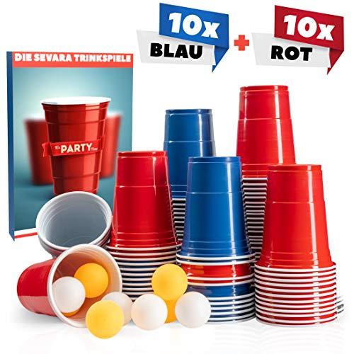 Sevara © Bierpong Becher - Party Set aus [20x] hochwertigen Trinkbechern in Zwei Farben - [4X] Pingpongbälle geschenkt - Inklusive E-Book mit Trinkspielen - Mit verstärktem Boden und Wänden