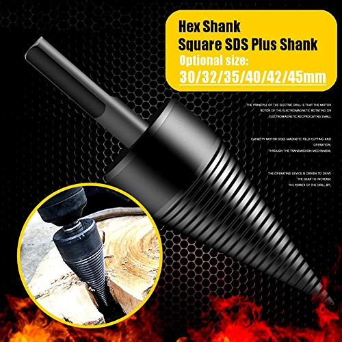 30/35/40/42/45/50mm Brandhout Splitter Machine Boor Hout Cone Reamer Punch Driver Boor Split Boren Gereedschap 32mm Hex Shank