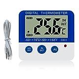 Gellvann Termometro Digitale congelatore/Frigorifero con Magnete e Stander Digital termometro congelatore con indicatore di Allarme LED Max/Min congelatore termometro per Cucina casa