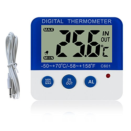 Gellvann Digital Freezer Fridge Thermometer with Magnet and Stander Digital Freezer Thermometer with LED Alarm Indicator Max Min Memory Freezer Thermometer for Home Kitchen Restaurants Bars Cafes