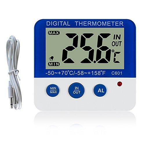 Gellvann Digital Gefrierschrank/K¨¹hlschrank Thermometer mit Magnet und Stander Digital Gefrierschrank Thermometer mit LED Alarm Indikator Max/Min