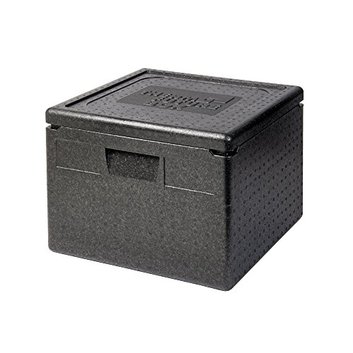 Thermo Future Box Quadratische Thermobx Kühlbox Transportbox Warmhaltebox und Isolierbox mit Deckel, Thermobox aus EPP (expandiertes Polypropylen), Schwarz, 32 l