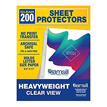 Samsill 200 Pack Heavyweight Clear Sheet Protectors for 3 Ring Binder Archival Safe Top Load 8.5 x 11 Inches