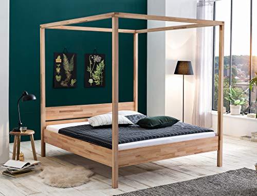 expendio Himmelbett Sabri Kernbuche geölt Größe nach Wahl Massivholzbett Doppelbett Ehebett Singlebett Bett Schlafzimmer, Liegefläche:180 x 200 cm
