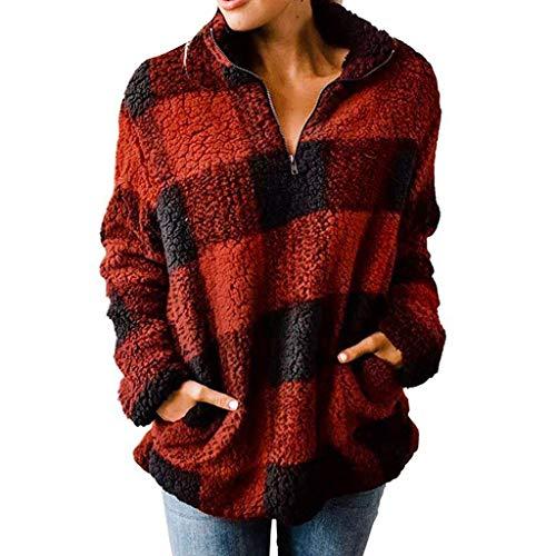 90sMuse Women Zip Up Sherpa Fleece Turtleneck Plaid Sweatshirt Fall Winter Warm Long Sleeve Pullover Sweater Top (Red, XL)