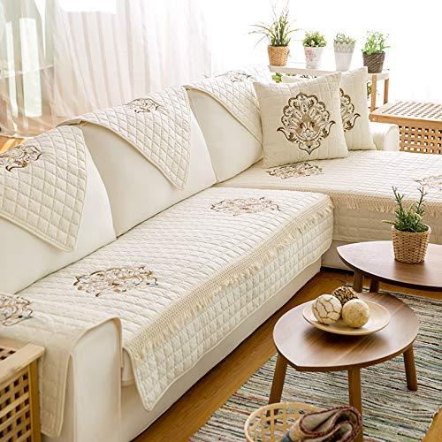 XYL HOME Coton Artisanat brodé canapé Coussin Tissu Salon de Jardin canapé Serviette Ensemble Coton Mat, brodé coloré - Beige, 110 * 180 cm
