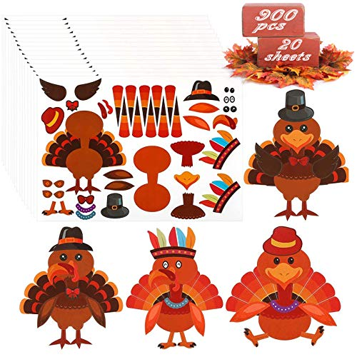 Make-A-Turkey Stickers Thanksgiving Party Favors Supplies 900pcs-DIY Stickers for Kids Turkey Games Crafts Stickers Autumn Fall Harvest Thanksgiving Decorations 20 Sheets