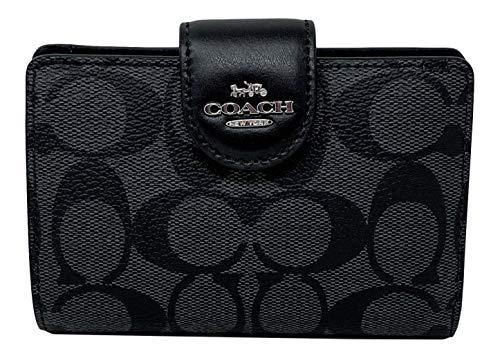 Coach Signature Medium Corner Zip Wallet in Coated Canvas Black S