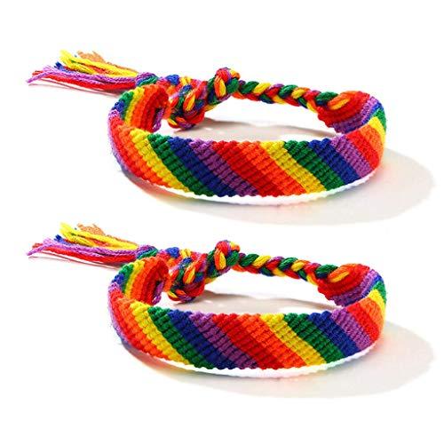 TYUXINSD Hermosa 2 unids Arco Iris Gay y Lesbiana Amor Orgullo trenido Macrame Macrame brazalet Amante Pulsera (Color : 45)