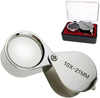 Aiernuo Loupes 10x Glass Jeweler Loupe Loop Eye Magnifier Magnifying Magnifier Metal Body Silver (10x21mm)
