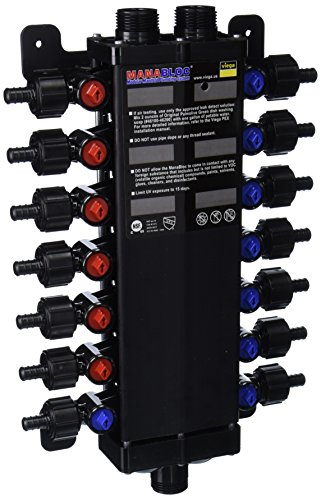 Viega 50143 - 1/2-Inch PureFlow Zero Lead Poly Alloy PEX Crimp Manabloc With 14 Ports - 8 Cold 6 Hot