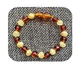 Bracelet Ambar para dentición de bebé para niños y niñas, el mejor regalo de las señoras de ámbar báltico natural, joyería para adultos, tobilleras de 13 a 23 cm, 1 miel, 1 coñac-13 cm