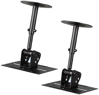 Speaker Wall Ceiling Mount Stand - Black Speaker Mounting Bracket w/ Adjustable Swivel Tilt, Retractable Telescopic A...