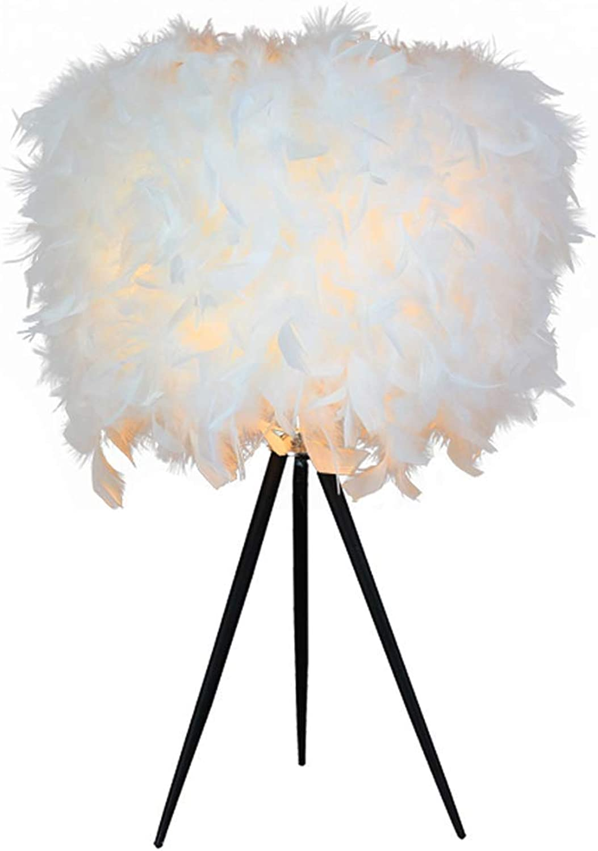 SGWH Feder Tischlampe, LED Nachttischlampe Warm Romantische Dekorative Schreibtischlampe Modernen Minimalistischen Wohnzimmer Schlafzimmer Dekoration Lampe (E27 Wei)