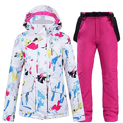 JW-YZWJ Frauen Skibekleidung, Snowboard-Jacke und Hose, Wind- und wasserdichte Kapuze warme im Freiensportkleidung, Winterberg Anzug,E,L