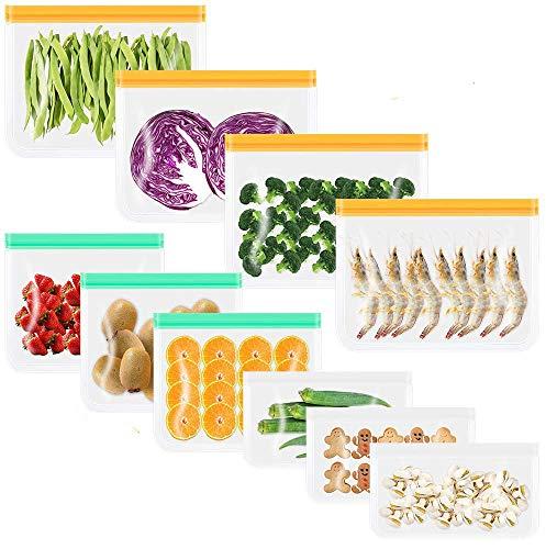 CISHANJIA Silikonbeutel Wiederverwendbare, 10 Pack Stück BPA-freie Wiederverwendbarer Gefrierbeutel Sandwichbeutel Reißversch für Mittagessen, Gemüse, Fleisc, Beutel Vielseitige Konservierung Tasche