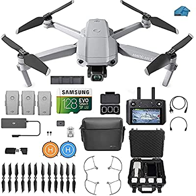 DJI Mavic Air 2 Fly More Combo with DJI Smart Controller - Drone Quadcopter UAV with 48MP Camera, 3 batteries, Case, 128gb SD Card, Lens Filters, Landing pad Kit with Must Have Accessories