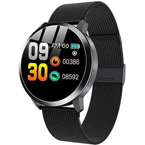 HJKPM Frauen Smartwatch, Damen Modesport Smart Uhr Mit Herzfrequenzüberwachung Physiologische Periode Erinnern Usw 20 Funktionen,Schwarz
