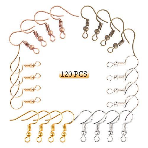 AIEX 120stk. Ohrhaken 20mm Ohrring Haken für Handwerk Ohrring Herstellung(6 Farben)