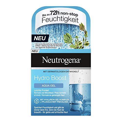 Neutrogena Hydro Boost Aqua Gel, Feuchtigkeitsgel, Feuchtigkeitspflege, Normale und Mischhaut, Ölfrei, 50 ml