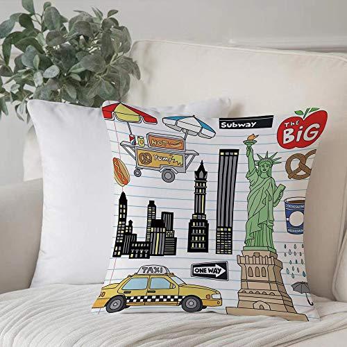 Poliestere morbido copricuscino decorativo,Doodle, New York City Manhattan Statua della Libertà La grande ,di federe per cuscini di per salotto divano camera da letto con cerniera invisibile,45x45cm