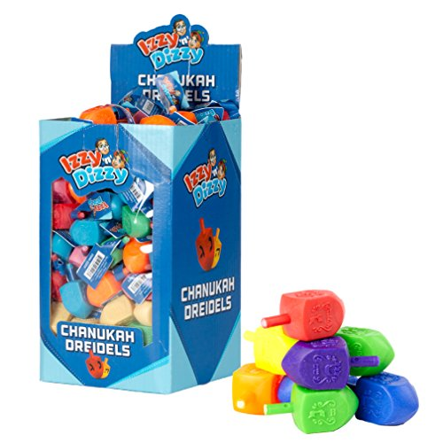 100 Small Color Dreidels - Assorted Colors - Classic Chanukah Spinning Draidel Game, Gift and Prize - Bulk Value Pack - by Izzy n Dizzy