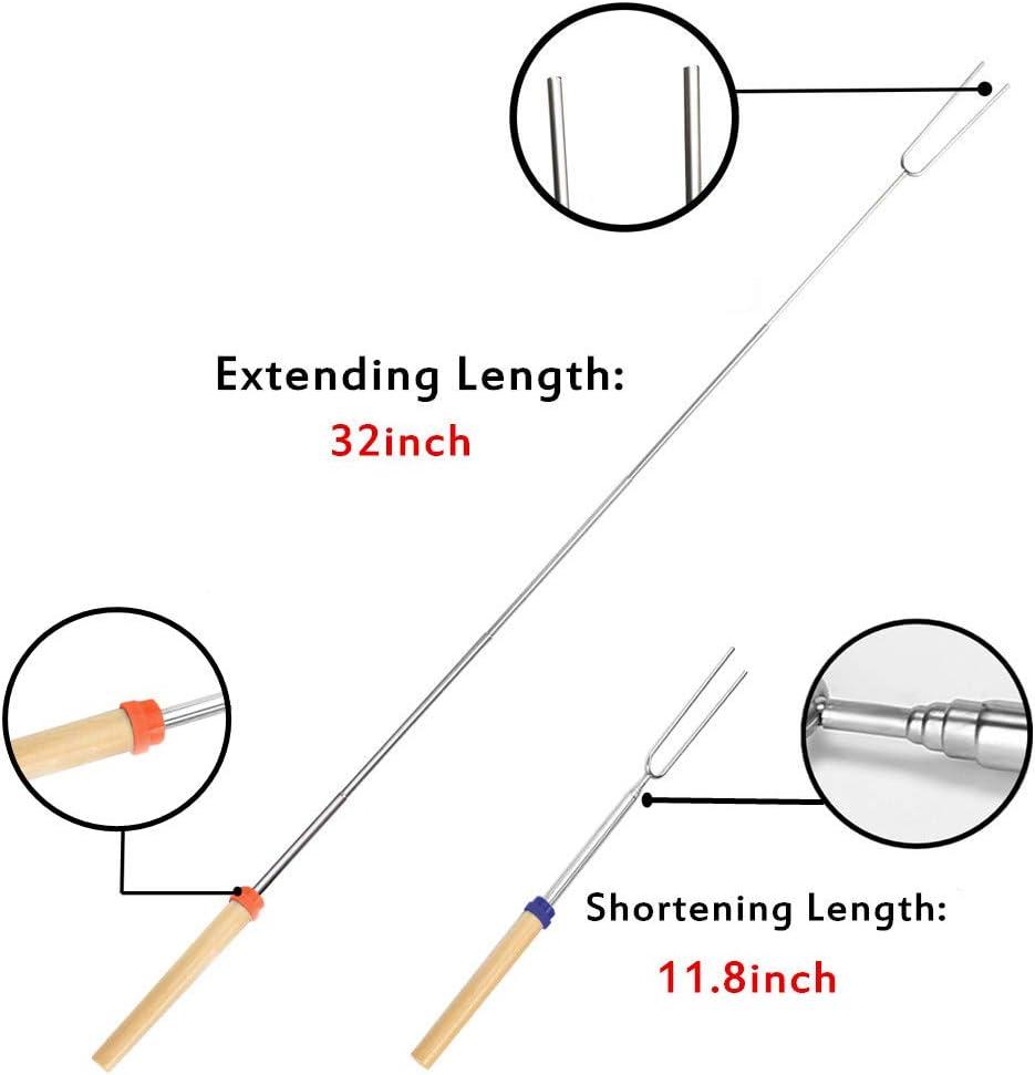 Set mit 5 St/ück Teleskop-Spie/ße f/ür Lagerfeuer Feuerstelle und Wurst Grill VLFriday Marshmallow-Bratst/äbe mit Holzgriff ausziehbare Gabeln 81,3 cm