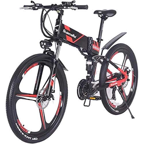 Sheng mi lo 500w / 350w elektrisches Mountainbike Mens ebike Faltendes MTB-Fahrrad Shimano 21speeds (Schwarz 500w)
