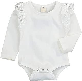 Infant Toddler Baby Girls Romper Flutter Sleeve Bodysuit Cotton Onesies Outfits