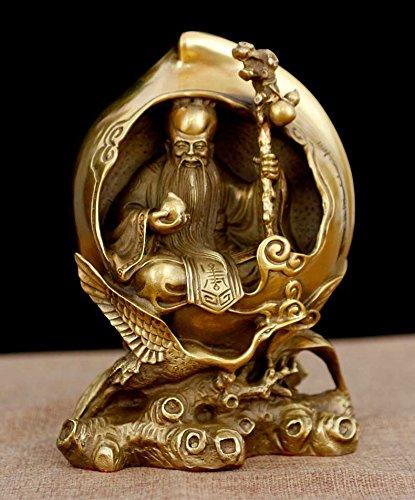 YUNHAO 17,8 cm Laiton Chinois FENGSHUI Xiantao Dieu de la Longévité Perruche de Statue de Grue