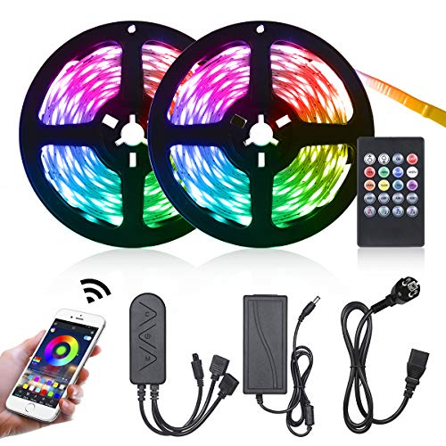Tomshine Led Strip Lights 10m Bluetooth Music Sync RGB Color Changing with Remote, Smart Phone App Controlled Led Lighting Strips for Home Kitchen Christmas Decorations