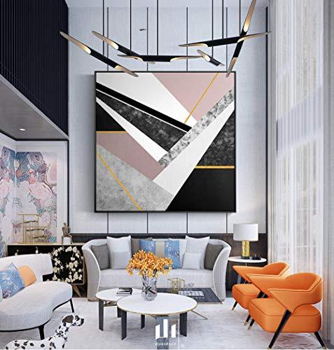 Abstract geometrisch schilderij ter wereld, kunst voor de woonkamer, borden en drukken, decoratie voor thuis, HD, uniek zonlicht, 80 x 80 cm (zonder lijst)